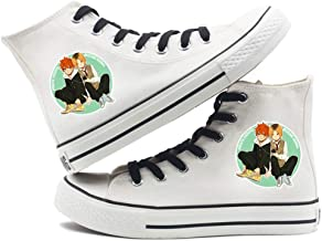 Jzdhlsc for Men Haikyuu,White De Toile Anime Printing Shoes Chaussures Casual Classiques Chaussures De Couple