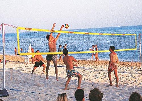 SunVolley Beachvolleyball-Netz Standard | Wetterfest, Schnellverschlüsse, Hohe Stabilität | LxB: 9,50 x 1,00 m | 10 cm Maschenweite, 5 cm breites Einfassband | Robustes Polyester