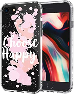 MOSNOVO iPhone SE 2020 Case, iPhone 8 Case, iPhone 7 Case, Choose Happy Quotes Pattern Printed Clear Design Hard Back Case with TPU Bumper Case Cover for iPhone 7 iPhone 8 iPhone SE 2020