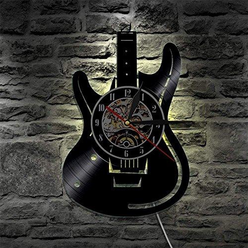 TOOWE 12 Zoll Gitarre Vinyl Record Design Wanduhr - 7 Farben ändern Wandleuchte LED Illusion Nachtlicht mit Fernbedienung - Schwarz