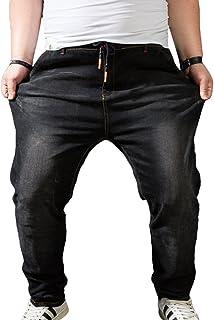 Heheja Uomo Vita Alta Jeans Tempo Libero Harem Pantaloni Taglia Grossa Elasticità Denim Pantalon