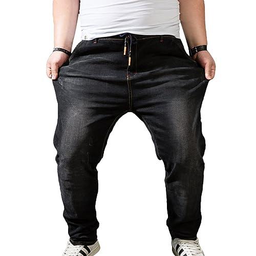 Heheja Homme Grande Taille Élastique Jeans Taille Haute Loisir Straight Denim  Pantalon a6e8494e5b8f