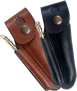 Laguiole Actiforge–Estuche de piel Formé para cuchillo Laguiole–francesa artesanal, negro, con afilador