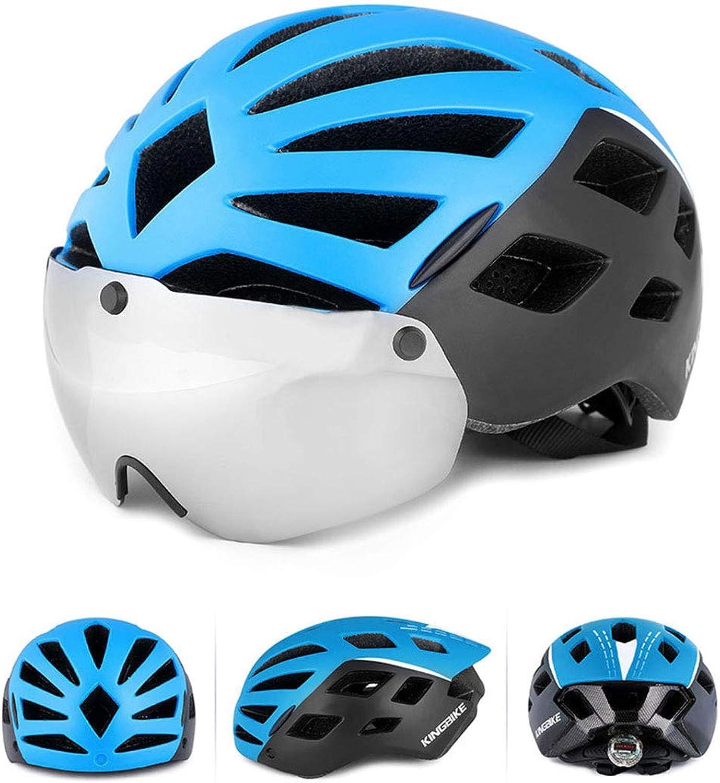 Mountain Bike Anti-UV Sunscreen Riding Glasses Helmet Integrated Helmet Suitable for Riding Road Bike Riding BMX,bluee