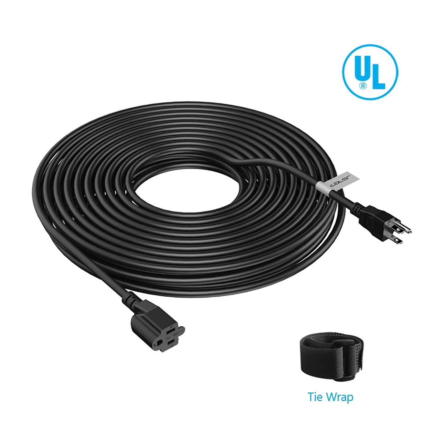 JSVER Power Extension Cord 15 ft Universal Three Prong 125V 13A 16 AWG Cable with Tire Wrap for powering computers, PDUs, monitors, printers and home/office peripherals Black Power Extension Cable