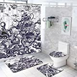 4 Pcs Kraken Octopus Attack Sailboat Shower Curtain Set with Non-Slip Rug, Toilet Lid Cover, Bath Mat and 12 Hooks, Nautical Tentacles Ship Waterproof Shower Curtain Sets for Bathroom
