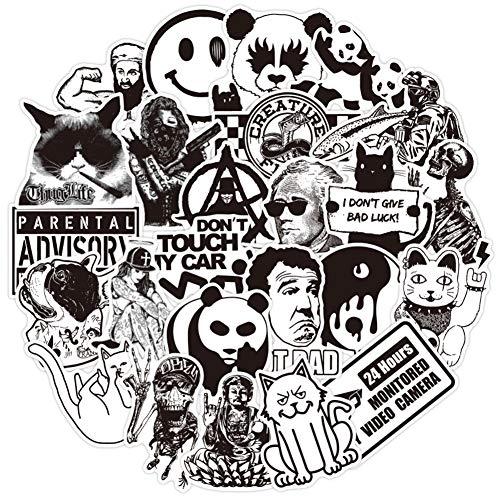 RGBEE Aufkleber 100 Stück, Sticker Schwarz Weiss, Graffiti Wasserfeste Vinyl Sticker Set für Laptop, Koffer, Helm, Motorrad, Skateboard, Snowboard, Auto, Fahrrad, Computer
