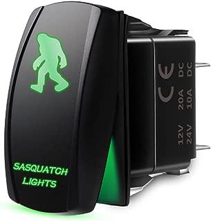 Mictuning Laser Backlit SASQUATCH LIGHTS Rocker Switch Kit On-Off 20Amp 12V LED Light Green