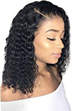 Clearance Glueless Lace Front Wigs - Brazilian Virgin Human Hair Short Bob Wavy Synthetic Fiber HairFor Black Women Natural Looking On Sale (Black)
