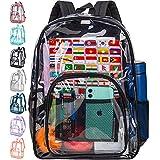 Clear Backpack, Transparent Bookbag Heavy Duty - Black
