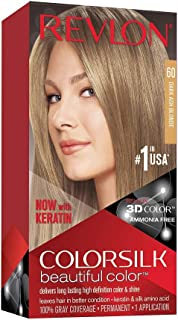 Revlon Colorsilk Beautiful Color, Permanent Hair Dye with Keratin, 100% Gray Coverage,..