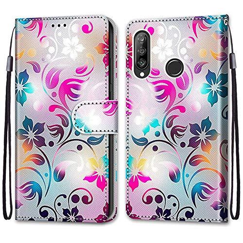 Nadoli Handyhülle Leder für Huawei P30 Lite,Bunt Bemalt Gradient Bunt Blumen Trageschlaufe Kartenfach Magnet Ständer Schutzhülle Brieftasche Ledertasche Tasche Etui