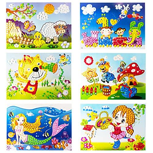 YUESEN Mosaique Autocollante Enfant Kit Artisanal de mosaïques collantes pour Enfants, 6pcs Images séparées d'autocollant de mosaïque à la Main Art Enfants Bricolage