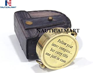Follow Your Inner Compass Quite Engrave Brass Poem Compass with Leather Case Nautical Gift for Graduation, Anniversary, Baptism, Retirement, Father's Day, Mother s Day, Birthday Gift or Christmas