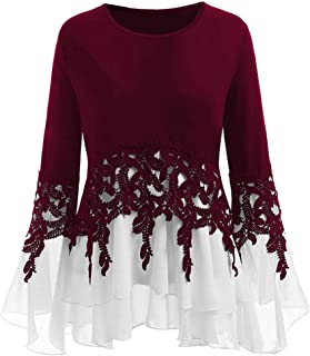 WINJUD Womens Top Applique Lace Blouse Flare Sleeves Crewneck Plus Size Tops