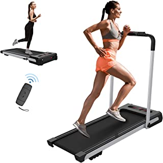 Workout Folding Treadmill Electric Motorized Running Machine Treadmill for Home 2 in 1 Under Desk Treadmill Portable Treadmill for Running and Walking Exercise Home Gym,Installation-Free(Silver)