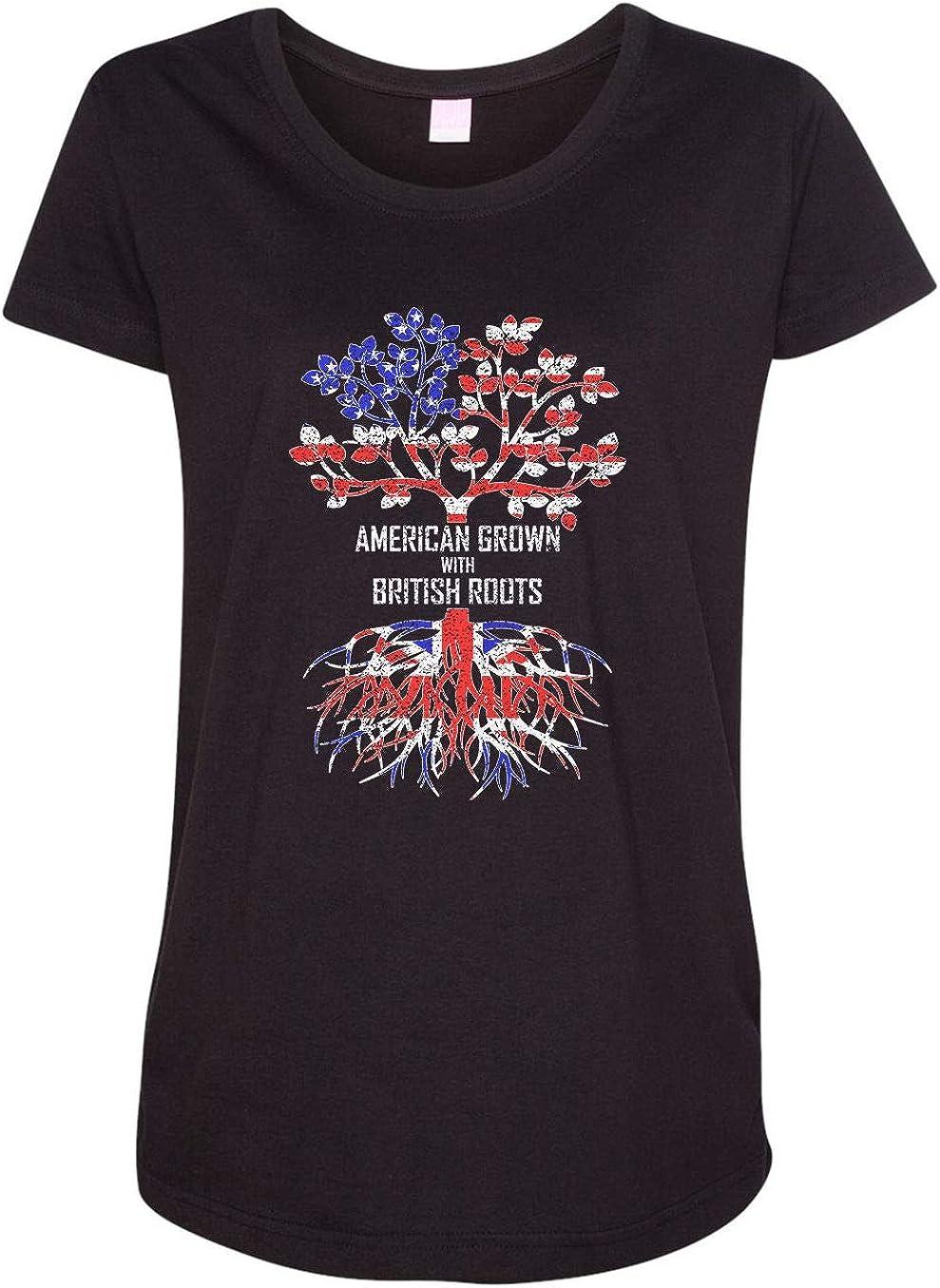 HARD EDGE DESIGN Women's American Grown with British Roots T-Shirt
