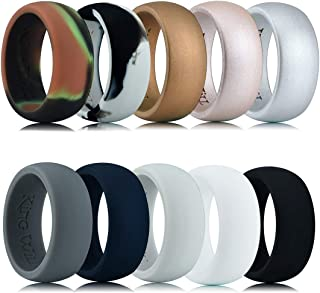 King Will Motion Silicone Wedding Ring Comfortable Antibacterial Rubber Rings Premium Medical Grade Wedding Bands 10 Pack FDA Certification