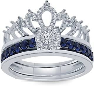 7/8ct Round Natural White Diamond Blue Sapphire Sterling Silver Insert Crown Ring Engagement Wedding Ring For Teens Womens