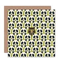Pandas Hidden Bear Pattern Birthday Art Sealed Greeting Card Plus Envelope Blank inside くまパターン