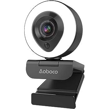 【令和2年最新版】webカメラ ウェブカメラ フルHD1080p 200万画素 リングフィルライト付き H.264スケーラブルビデオコーディング オートフォーカス 美顔機能 背景置き換え ステレオマイク内蔵 ビデオ通話 skype会議用PCカメラ 360°調整 折り畳み式 プラグアンドプレイ 三脚取付可能 Windows7/8/10 Mac OS X/Youtube/Skype/zoom/facetime/Xbox one 1年安心保証 Aoboco