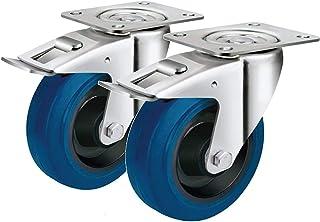 2 zwenkwielen 80 mm remstopper stop vastzetter met banden als elastische wielen industriële wielen
