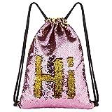 DrCosy Meerjungfrau Pailletten Tasche Kordelzug Pailletten Rucksack Glitter Meerjungfrau Rucksäcke Magie Tanz Taschen für Kinder Erwachsene (35X45cm,Gold/Rosa)