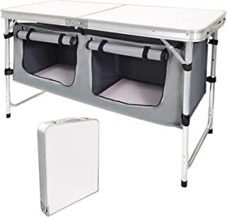 جدول کمپ کمپینگ با پاهای قابل تنظیم برای ساحل ، حیاط خلوت ، BBQ ، مهمانی و پیک نیک… (B)