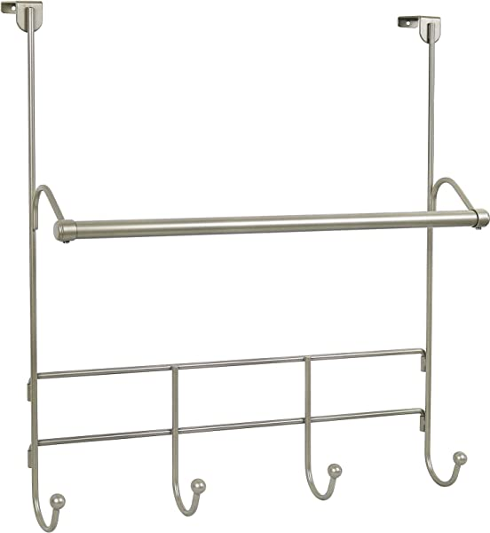Greenco Over The Door Towel Bar With 4 Hooks Satin Nickel Finish