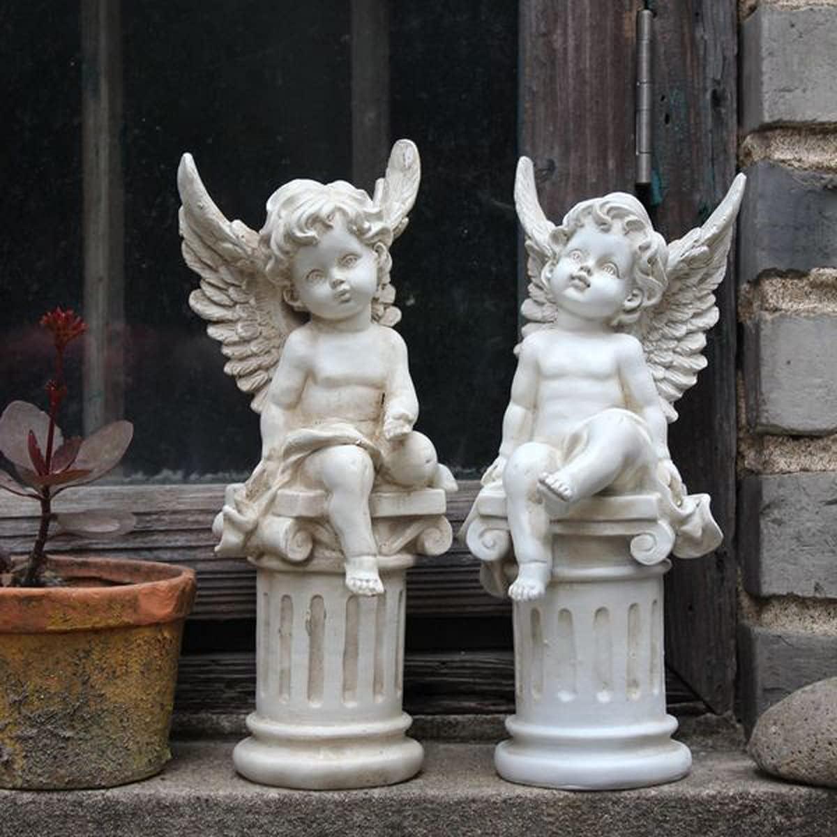 OWADAR Set of 2 Cherub Angel Garden Statue Figurine Roman Pillar Greek Column Angel Statue Figurine Sculpture Indoor Outdoor Home Garden Decoration Weathered Antique Resin 9.8