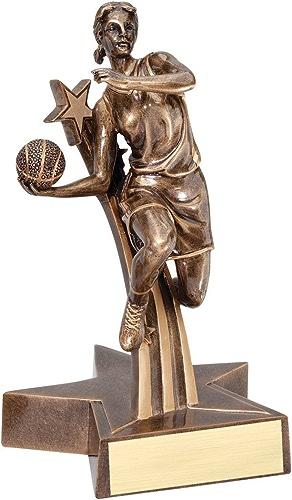 Décennie récompenses Femelle Basketball étoile Doré Résine Trophy Award