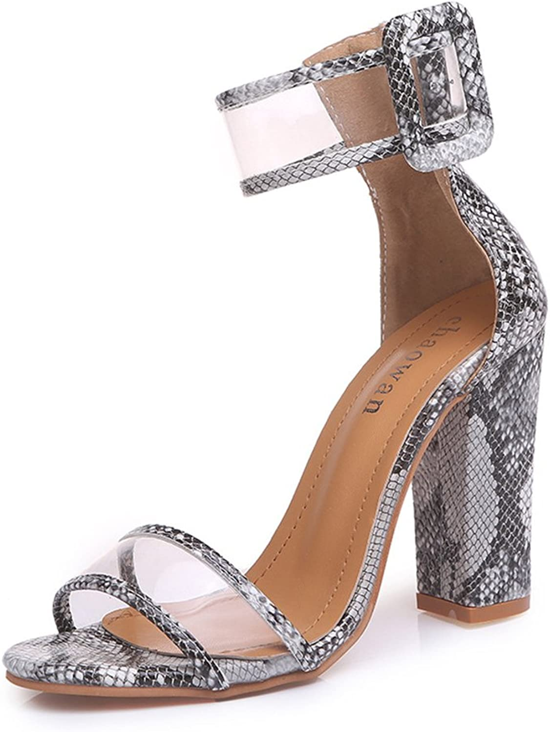 Open Toe Covered Chunky Block Heel Sandals - Dressy Vegan Single Sole Ankle Strap Sandals