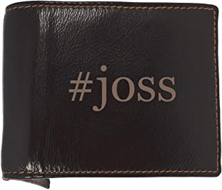 #joss - Soft Hashtag Cowhide Genuine Engraved Bifold Leather Wallet