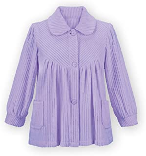 Soft Fleece Button Down Night Shirt with Pockets - Comfy Flattering Fit Over Pajamas or Nightgown