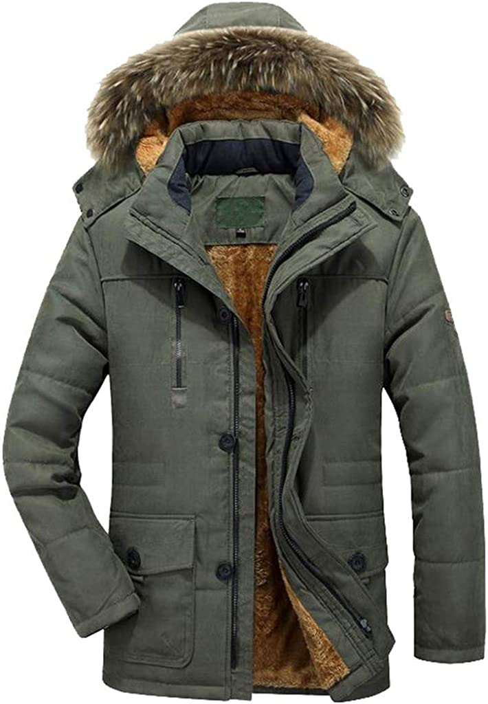 DIOMOR Plus Size Outdoor Fleece Lined Warm Down Coat with Removable Fur Hood Winter Thicken Snow Jacket Parkas Anoraks