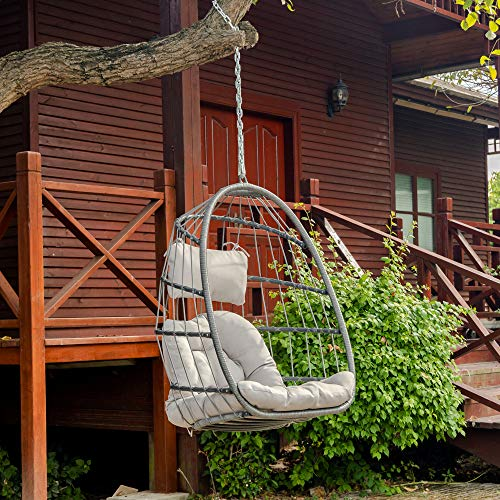 elify Wicker Hanging Swing Chair, Patio Rib Hanging Egg Chair with UV Resistant Grey Cushion in Door Outdoor Patio
