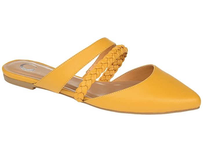 Retro Vintage Flats and Low Heel Shoes Journee Collection Comfort Foam Olivea Mule Mustard Womens Shoes $42.99 AT vintagedancer.com