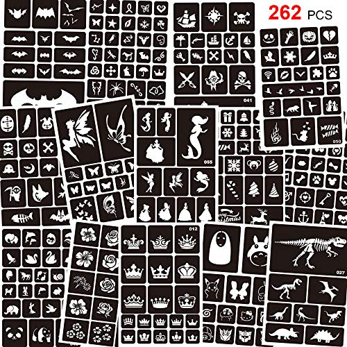 Konsait 262pcs Temporary Tattoos Stencils for Kids, Reusable Face and Body Paint Stencils Kit, Girl Boy Glitter Tattoos Stencils for Kids School Show Birthdays Halloween Christmas Party Favor Supplies