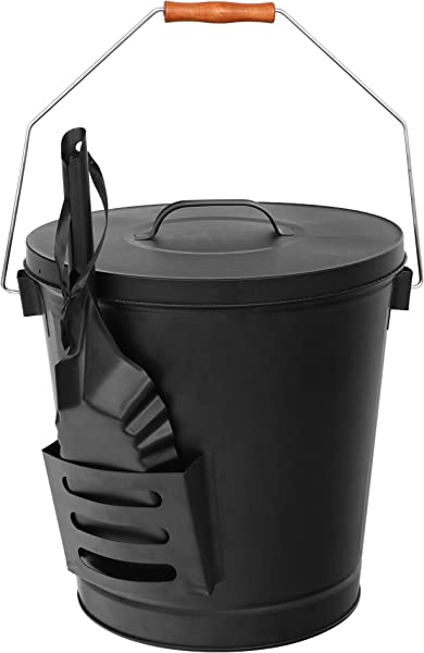 F2C 5 15 Gallon Ash Bucket With Lid And Shovel Galvanized Iron Ash Pail For Fireplace Fire Pits Wood Burning Stoves