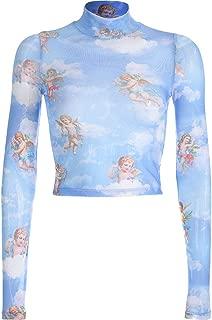 Jojck Women Angel Print Mesh Short Top Perspective Long Sleeve Transparent T Shirt