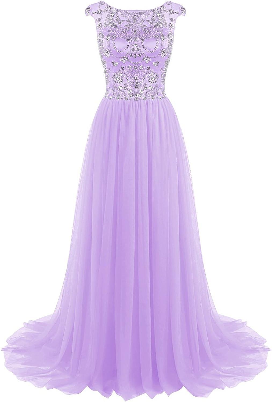 Beilite Long Beads Prom Dress Tulle Sleeveless Evening Dress