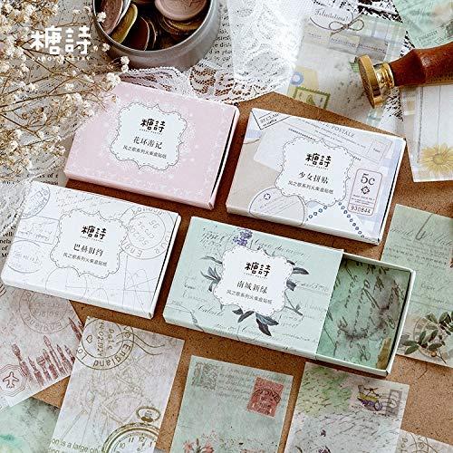 30 unids/Caja Etiqueta de Caja de cerillas Retro Serie pragmatismo Bloc de Notas Adhesivo Papel de Fondo DIY Pegatinas Decorativas Suministro de papelería