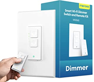 meross Smart Dimmer Switch with Remote - WiFi Light Switches Single Pole, No Hub Needed, Voice and Remote Control, Compati...