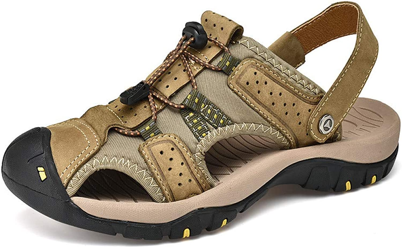 GJLIANGXIE Men'S Sandals Sandals First Layer Leather Summer New Men'S Sandals Men'S Outdoor Beach shoes Breathable Beach shoes Sandals Outdoor Holiday Sandals