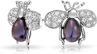 Pave CZ Insect Queen Bumble Bee Black Freshwater Cultured Pearl Stud Earrings For Women Silver Plated Brass