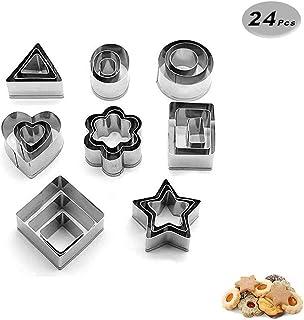 comprar comparacion voarge Mini geométrico Cookie Set de moldes para galletas, de 24piezas metal–Juego de moldes Fácil borde Formas Geométr...