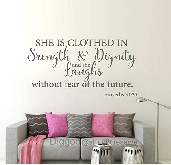 She Is Clothed In Strength And Dignity Wall Decal Proverbs 31 25 Christian Wall Quote Scripture Wall Art Girls Bedroom Decor Gray 15 5 H X 30 W