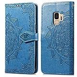 Bear Village Hülle für Galaxy S9, PU Lederhülle Handyhülle für Samsung Galaxy S9, Brieftasche Kratzfestes Magnet Handytasche mit Kartenfach, Blau