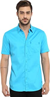 Mufti Men's Solid Slim Fit Casual Shirt (MFS-9873-H-20_Turquoise_XL)