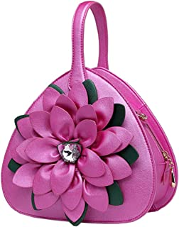 Trendy Lady Diamond Flower Tote Ethnic Style Shoulder Bag Zgywmz (Color : Rose, Size : 23 * 11 * 23cm)